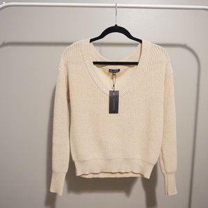 NWT Womens Deep V-Neck Off Shoulder Sweater